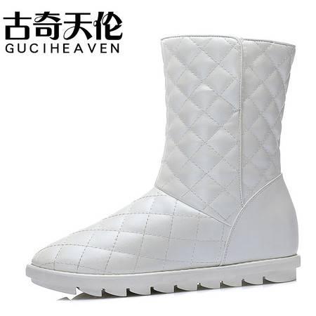 古奇天伦秋季新品时尚加绒保暖短靴欧美内增高短筒女靴子平底雪地靴圆头女鞋