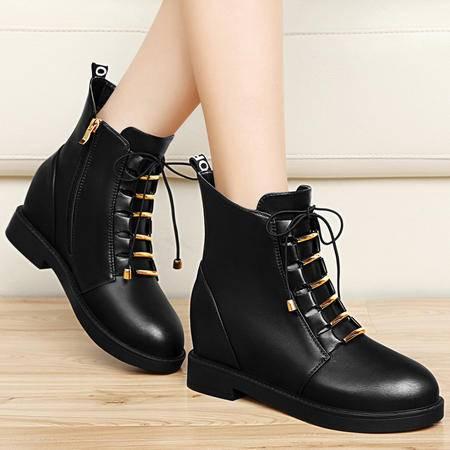 古奇天伦秋冬女鞋平底马丁靴潮短筒英伦休闲鞋内增高女靴保暖短靴