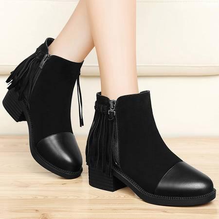 古奇天伦秋冬新品短筒高跟马丁靴保暖流苏女靴子粗跟短靴潮及裸靴