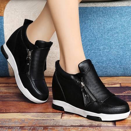 古奇天伦秋冬新品厚底低帮鞋休闲女鞋时尚单鞋坡跟鞋子内增高运动鞋