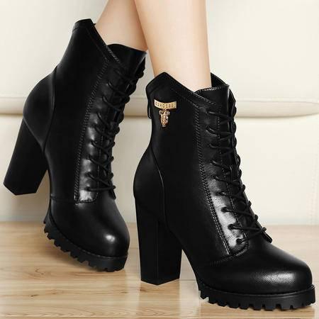 古奇天伦秋季新品英伦加绒保暖靴粗跟高跟鞋潮流马丁靴时尚短筒女靴高帮女鞋