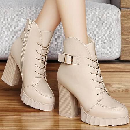 古奇天伦秋季新款金属扣系带女鞋子粗跟高跟女靴厚底防水台马丁靴