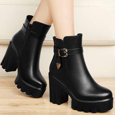 古奇天伦秋冬季厚底防水台女靴加绒保暖马丁靴潮短筒靴子粗跟短靴高跟鞋女鞋