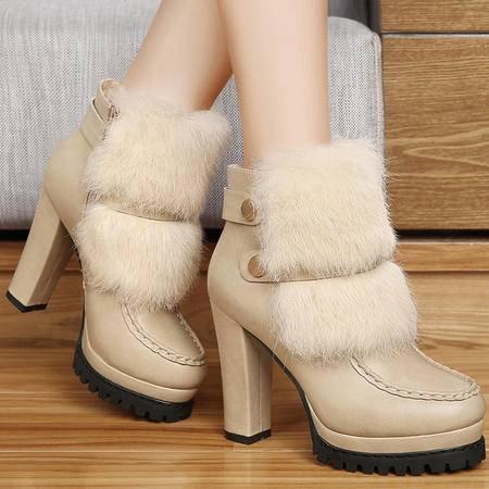 古奇天伦秋季新品时尚圆头防水台女靴兔毛粗跟高跟靴潮流厚底短筒靴
