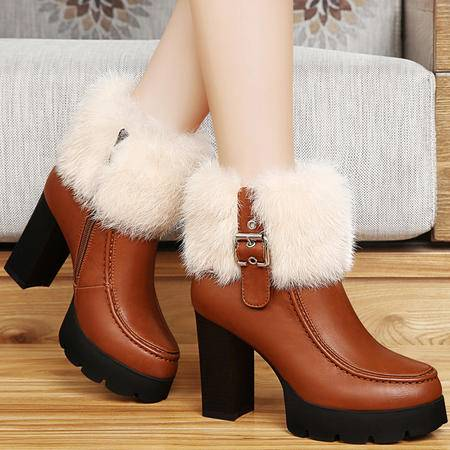 古奇天伦冬季兔毛保暖女靴厚底短筒靴加绒马丁靴粗跟短靴潮女高跟鞋