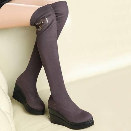 古奇天伦冬季新款厚底防水台女靴坡跟高跟靴时尚瘦腿过膝女靴子