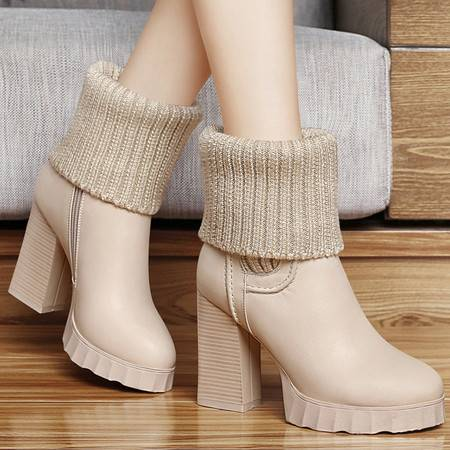 古奇天伦马丁靴秋冬季新款厚底防水台短筒靴针织保暖女靴子粗跟短靴高跟女鞋