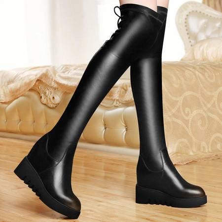 古奇天伦女鞋秋冬平底坡跟长靴防水台女靴内增高过膝长靴厚底骑士靴