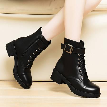 莱卡金顿冬季新款女鞋中跟短靴粗跟马丁靴皮带扣中筒靴加绒女靴