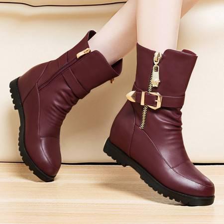 莱卡金顿秋冬新品皮带扣马丁靴平底内增高中筒女靴子加绒厚底短靴