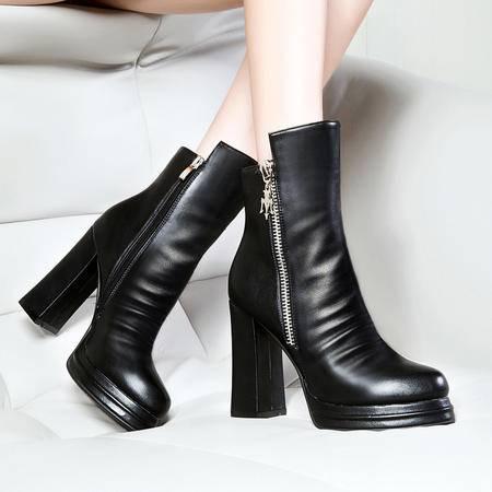 莱卡金顿秋冬新款女鞋粗跟高跟马丁靴英伦风女靴侧拉链中筒靴