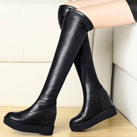 盾狐冬季加绒棉靴保暖弹力过膝长靴平底松糕鞋厚底防水台高筒内增高女靴