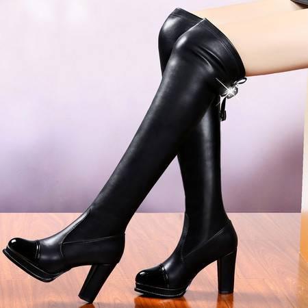 盾狐秋冬季高跟女靴显瘦过膝长靴瘦腿弹力靴女粗跟骑士靴加绒保暖马丁靴