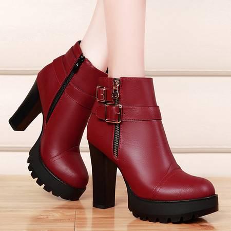 盾狐冬季深口单鞋女高跟防水台厚底圆头粗跟皮靴加绒保暖女鞋踝靴女靴