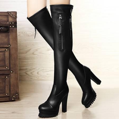 盾狐冬季女靴子高筒靴拉链过膝长靴子高跟粗跟防水台女士皮靴弹力马丁靴