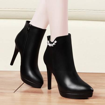 盾狐秋冬欧美加绒保暖时尚女鞋尖头细跟短靴子女高跟鞋厚底防水台时装靴