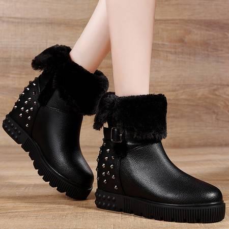 盾狐秋冬加绒加厚保暖雪地靴女厚底内增高中跟短靴两穿短筒铆钉女靴子