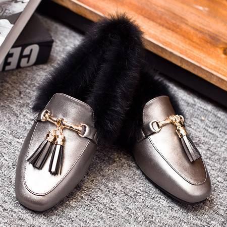 莫蕾蔻蕾冬季套脚低帮豆豆鞋毛毛女棉鞋加绒加厚保暖平底一脚蹬懒人鞋