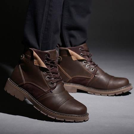 牛头酋长马丁靴男真皮短靴英伦加绒保暖男靴子圆头冬季军靴雪地靴工装鞋