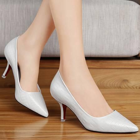 百年纪念高跟鞋细跟单鞋新款春季套脚女鞋OL职业工作鞋浅口尖头鞋