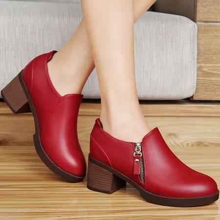 百年纪念春秋女鞋小皮鞋英伦休闲鞋时尚百搭圆头防水台单鞋粗跟高跟鞋