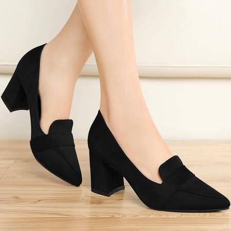 百年纪念女鞋子尖头单鞋女浅口OL粗跟高跟鞋春秋季时尚套脚低帮鞋