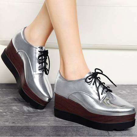百年纪念新款深口单鞋女平底坡跟鞋厚底女鞋子英伦系带休闲鞋松糕鞋