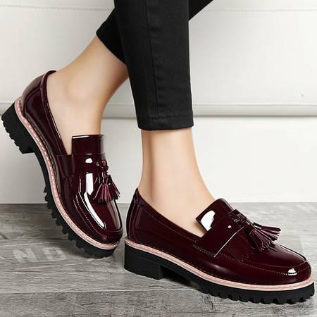 古奇天伦春季新款漆皮女单鞋中跟皮鞋流苏深口粗跟鞋低帮套脚女鞋