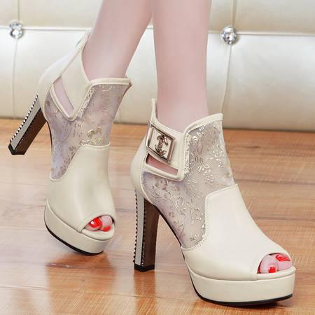 盾狐春季新款单鞋鱼嘴鞋防水台高跟鞋网纱透气女鞋时尚粗跟单鞋