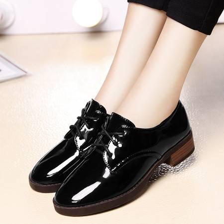 盾狐春秋粗跟单鞋女系带英伦皮鞋时尚休闲鞋低跟女鞋复古工作鞋