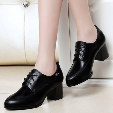 盾狐春季新款高跟鞋女粗跟单鞋防水台皮鞋欧美深口性感系带女鞋子