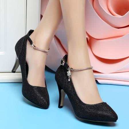 盾狐春季浅口单鞋女细跟高跟水钻OL优雅时尚女鞋防水台一字扣鞋