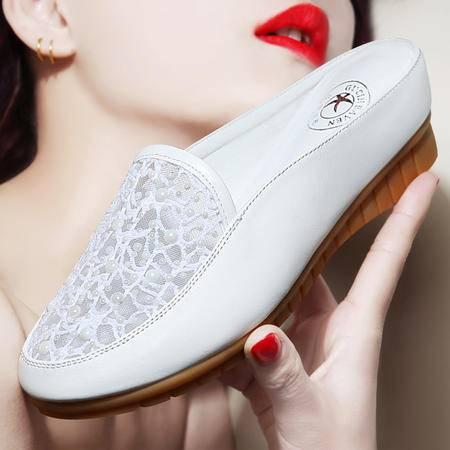 古奇天伦夏季新款包头平底凉拖鞋室外时尚镂空网纱透气厚底内增高女鞋