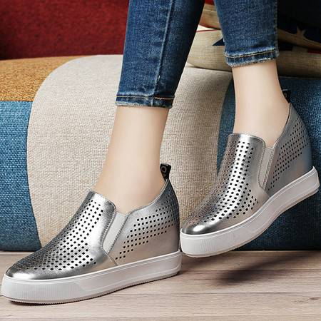 古奇天伦夏季新款内增高单鞋平底套脚乐福鞋镂空透气韩版女鞋休闲鞋子