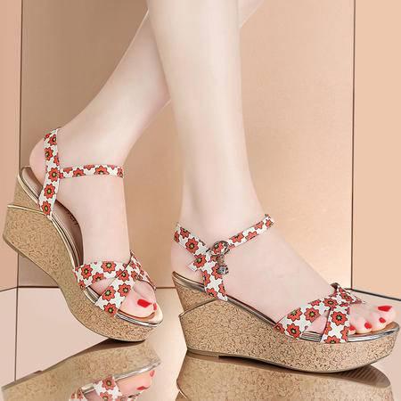 古奇天伦夏季新款厚底坡跟凉鞋韩版高跟鞋防水台松糕鞋碎花女鞋
