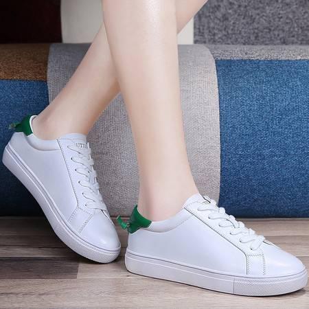 百年纪念真皮板鞋潮春季新款平底休闲鞋系带运动单鞋学生韩版女鞋子