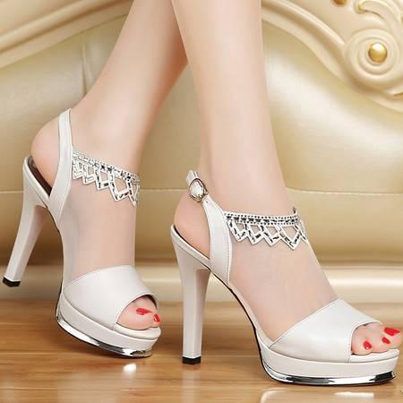 百年纪念夏新款鱼嘴凉鞋女真皮女鞋细跟网纱鞋子防水台水钻高跟鞋