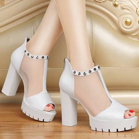 百年纪念春夏款粗跟单鞋女防水台厚底超高跟鞋鱼嘴网纱凉鞋真皮女鞋