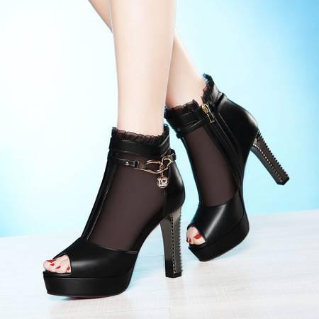 莱卡金顿春新款鱼嘴鞋网纱透气单鞋女高跟防水台粗跟凉鞋优雅OL女鞋