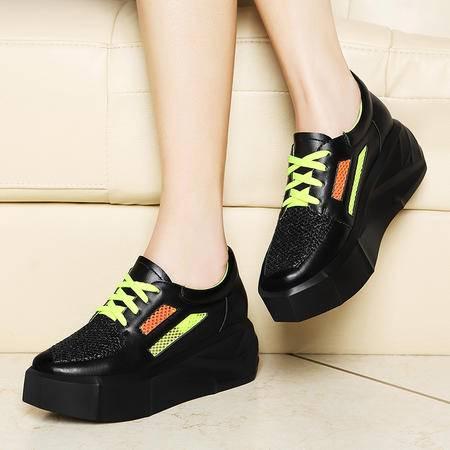 莱卡金顿休闲运动鞋女春新款韩版潮学生松糕鞋系带厚底单鞋低帮鞋