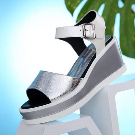 莱卡金顿夏季新款透气女凉鞋甜美坡跟厚底防水台鱼嘴鞋休闲鞋子露趾女鞋