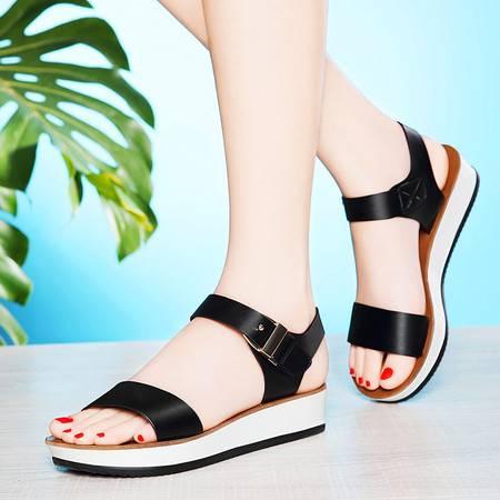 莱卡金顿夏季新款平跟凉鞋女平底厚底松糕鞋露趾运动休闲防水台女鞋