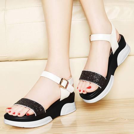 莱卡金顿夏新款亮片搭扣女凉鞋厚底松糕鞋坡跟休闲鞋平底女鞋子