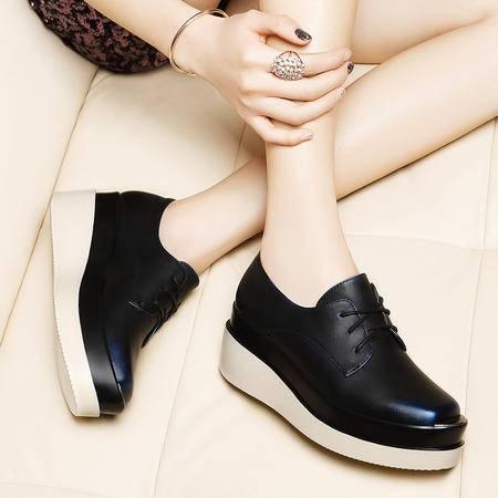 莱卡金顿春新款韩版女鞋内增高系带休闲鞋厚底松糕鞋平底深口单鞋