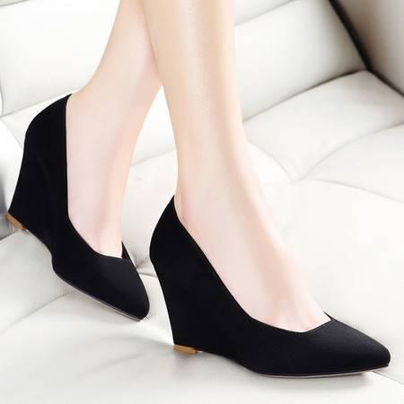 莱卡金顿春季坡跟单鞋OL优雅工作时尚女鞋女粗跟防水台尖头套脚低帮鞋