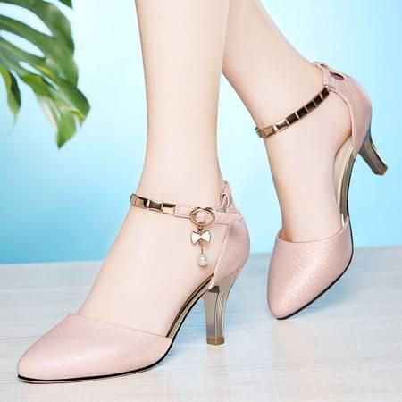 莱卡金顿夏新款珍珠女凉鞋尖头高跟鞋时尚优雅女鞋细跟一字扣OL工作鞋