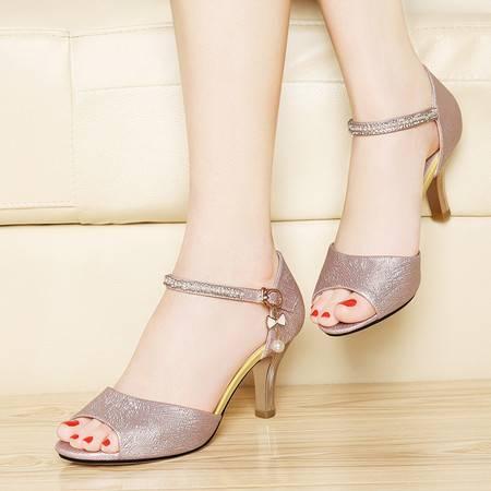 莱卡金顿夏季女鞋鱼嘴鞋高跟鞋新款粗跟简约休闲时尚OL包跟凉鞋