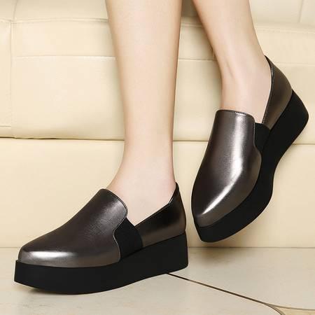 莱卡金顿春夏季新款单鞋女平底尖头女鞋子英伦松糕鞋厚底鞋套脚低帮鞋