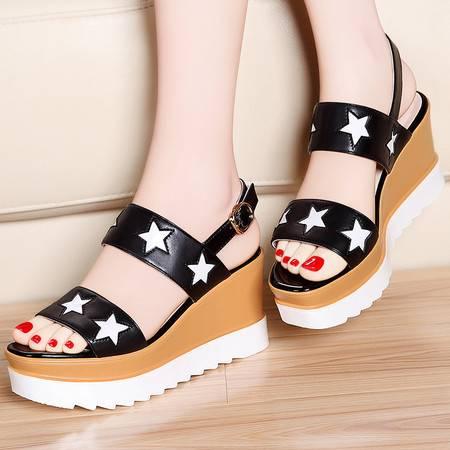 莫蕾蔻蕾夏季凉鞋2016新款厚底鞋松糕鞋星星鞋一字带坡跟露趾女鞋