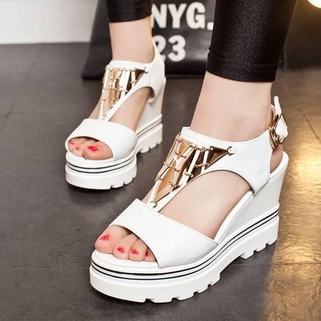 莫蕾蔻蕾2016新款坡跟鱼嘴凉鞋女夏松糕厚底高跟白色学生百搭韩版夏天鞋子